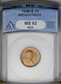 Errors: , 1946-S 1C Lincoln Cent--Broadstruck--MS62 Red ANACS. (#2749)...