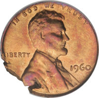 1960 1C Large Date Lincoln Cent--Ragged Clip--MS65 Red and Brown ANACS. (#2859)
