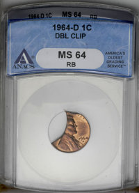 1964-D 1C Lincoln Cent--Double Clip--MS64 Red and Brown ANACS. (#2892)