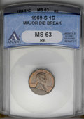 Errors: , 1969-S 1C Lincoln Cent--Major Die Break--MS63 Red and Brown ANACS. (#2919)...