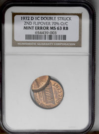 1972 1C Lincoln Cent--Double Struck, 2nd Flipover 70% O/C--MS63 Red and Brown NGC