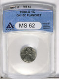 Errors: , 1980-D 1C Lincoln Cent--On 10C Planchet--MS62 ANACS. (#3004)...