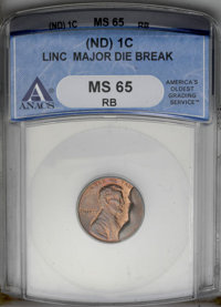 Undated 1C Zinc Alloy Lincoln Memorial Cent--Major Die Break--MS65 Red and Brown ANACS