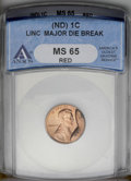 Errors: , Undated 1C Zinc Alloy Lincoln Memorial Cent--Major Die Break--MS65 Red ANACS....