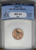 Errors: , 1984 1C Lincoln Cent--Major Die Break--MS64 Red and Brown ANACS. (#3058)...