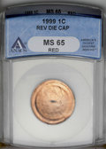 1999 1C Lincoln Cent--Reverse Die Cap--MS65 Red ANACS. (#3154)