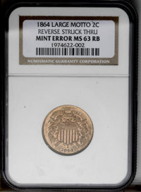 1864 2C Large Motto Two Cent Piece--Reverse Struck Thru--MS63 Red and Brown NGC. (#3577)