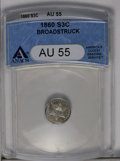 Errors: , 1860 3CS Three Cent Silver--Broadstruck--AU55 ANACS. (#3678)...