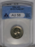 1964 25C Washington Quarter--On 5C Planchet--AU58 ANACS. (#5876)