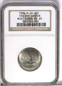 1999-P 25C Connecticut Statehood Quarter--15% Off Center--MS65 NGC. (#5952)