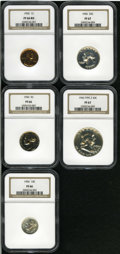 1956 1C cent PR66 Red NGC; 1956 nickel PR66 NGC; 1956 dime PR66 NGC; 1956 quarter PR67 NGC and a 1956 half dollar Type 2...