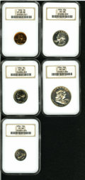 Proof Sets: , 1956 1C PR68 Red NGC; 1956 nickel PR68 NGC; 1956 dime PR68 NGC; 1956 quarter PR68 NGC, and a 1956 half PR68 NGC.... (Total: 5 Coins)