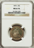 Seated Quarters, 1876 25C MS61 Prooflike NGC. NGC Census: (40/295). PCGS Population(33/379). Mintage: 17,817,150. Numismedia Wsl. Price for...