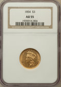 Three Dollar Gold Pieces: , 1854 $3 AU55 NGC. NGC Census: (754/2062). PCGS Population(684/1091). Mintage: 138,618. Numismedia Wsl. Price for problemf...