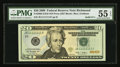 Solid Serial Number JE11111111F Fr. 2095-E $20 2009 Federal Reserve Note. PMG About Uncirculated 55 EPQ