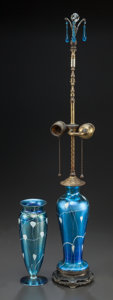 Art Glass:Other , DURAND GLASS BLUE ENAMELED VASE AND ASSOCIATED LAMP. Circa 1930,Engraved: DURAND, V, 2028-8. 29-1/2 inches high (74.9 cm) (...(Total: 2 Items)
