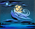 Animation Art:Concept Art, Mary Blair Peter Pan Ship Concept Painting (Walt Disney,1955)....