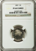 Proof Liberty Nickels: , 1897 5C PR64 Cameo NGC. NGC Census: (14/52). PCGS Population(13/58). ...