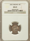 Seated Dimes: , 1854 10C Arrows MS65 NGC. NGC Census: (20/22). PCGS Population (20/12). Mintage: 4,470,000. Numismedia Wsl. Price for probl...