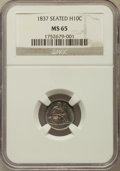 Seated Half Dimes, 1837 H10C No Stars, Large Date (Curl Top 1) MS65 NGC....