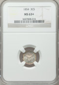 Three Cent Silver: , 1854 3CS MS63+ NGC. NGC Census: (61/138). PCGS Population (63/140). Mintage: 671,000. Numismedia Wsl. Price for problem fre...