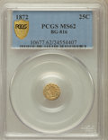 California Fractional Gold: , 1872 25C Liberty Round 25 Cents, BG-816, R.6, MS62 PCGS Secure.PCGS Population (5/14). NGC Census: (1/1). ...