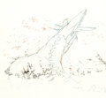 "Animation Art:Production Drawing, Fantasia ""The Rite of Spring"" Dinosaur Color Model Drawing(Walt Disney, 1940)...."