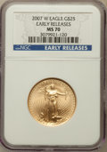 Modern Bullion Coins, 2007-W $25 Half-Ounce Gold Eagle, Early Releases MS70 NGC. NGC Census: (2324). PCGS Population (517). Numismedia Wsl. Pric...