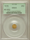 California Fractional Gold: , 1876 25C Indian Round 25 Cents, BG-853, Low R.5, MS64 PCGS. PCGSPopulation (13/3). NGC Census: (2/3). ...