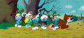 Animation Art:Production Cel, The Smurfs Production Cel Set-Up (Hanna-Barbera, 1981)....