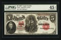 Large Size:Legal Tender Notes, Fr. 91* $5 1907 Legal Tender PMG Choice Extremely Fine 45 EPQ.. ...
