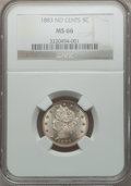 Liberty Nickels: , 1883 5C No Cents MS66 NGC. NGC Census: (469/63). PCGS Population(361/17). Mintage: 5,479,519. Numismedia Wsl. Price for pr...