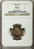 1893 5C PR65 NGC. NGC Census: (106/47). PCGS Population (89/26). Mintage: 2,195. Numismedia Wsl. Price for problem free...