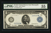 Fr. 879a* $5 1914 Federal Reserve Note PMG About Uncirculated 55
