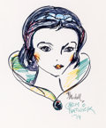 Animation Art:Production Drawing, Snow White Colored Marker Portrait Illustration by Grim Natwick (1974)....