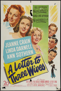 "A Letter to Three Wives (20th Century Fox, 1949). One Sheet (27"" X 41""). Drama"