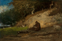 GEORGE INNESS (American, 1825-1894) The Hermit, circa 1883-85 Oil on board 12 x 18 inches (30.5 x
