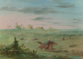 Fine Art - Painting, American:Antique  (Pre 1900), GEORGE CATLIN (American, 1796-1872). Ostrich Chase, BuenosAires, 1857. Oil on canvas. 19-1/4 x 27 inches (48.9 x 68.6c...