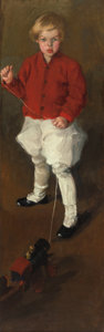 Fine Art - Painting, American:Modern  (1900 1949)  , MARTHA WALTER (American, 1875-1976). Portrait of a Young Boy andHis Toy Train, circa 1910. Oil on canvas. 67-1/2 x 21-1...
