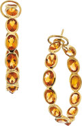 Estate Jewelry:Earrings, Citrine, Gold Earrings, Piranesi. ...