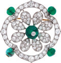 Estate Jewelry:Brooches - Pins, Art Deco Emerald, Diamond, Platinum, Gold Brooch. ...