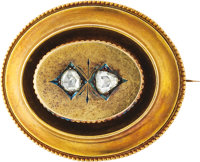 A VICTORIAN DIAMOND, GOLD BROOCH The brooch features rose-cut diamonds weighing a total of approximately 0.50 cara