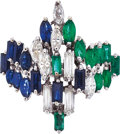 Estate Jewelry:Rings, Diamond, Sapphire, Emerald, White Gold Ring. ...