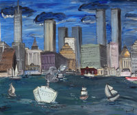 CARLOS NADAL (Spanish/French, 1917-1998) Port de New York, circa 1980 Oil on canvas 21-1/4 x 25-3