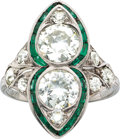 Estate Jewelry:Rings, Edwardian Diamond, Emerald, Platinum Ring. ...