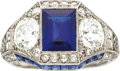 Estate Jewelry:Rings, Art Deco Sapphire, Diamond, Platinum Ring, Bailey Banks &Biddle. ...