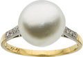Estate Jewelry:Rings, Natural Pearl, Diamond, Platinum-Topped Gold Ring. ...