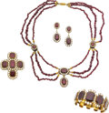 Estate Jewelry:Suites, Georgian Garnet, Pearl, Gold Parure. ...