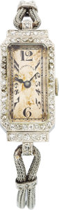 Estate Jewelry:Watches, Art Deco Patek Philippe Lady's Diamond, Platinum Wristwatch, Retailed by Tiffany & Co.. ...
