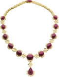 Estate Jewelry:Necklaces, Ruby, Colored Diamond, Gold Necklace. ...